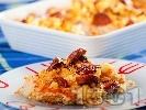 Рецепта Запеканка от карфиол с наденица, брашно, масло и червен пипер на фурна
